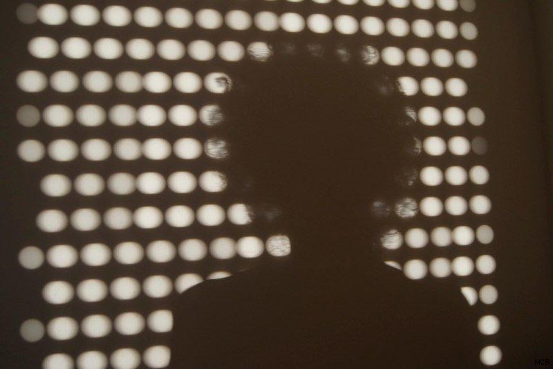 Autoportrait derrière les persiennes