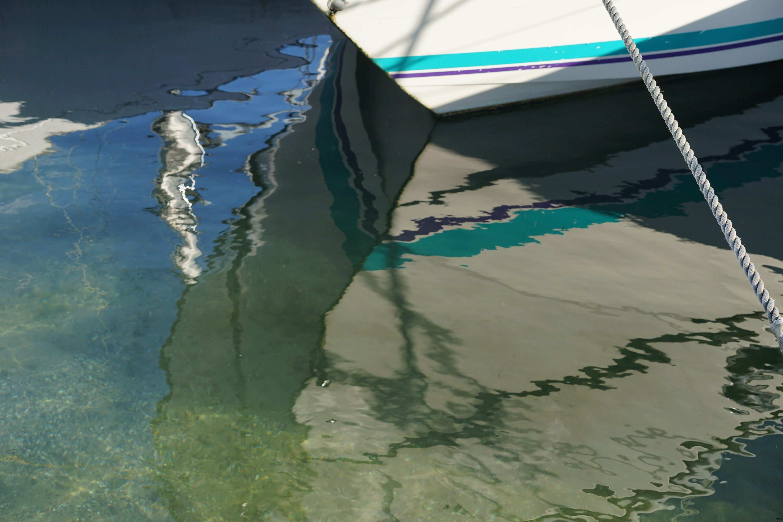 Barque en reflets verts