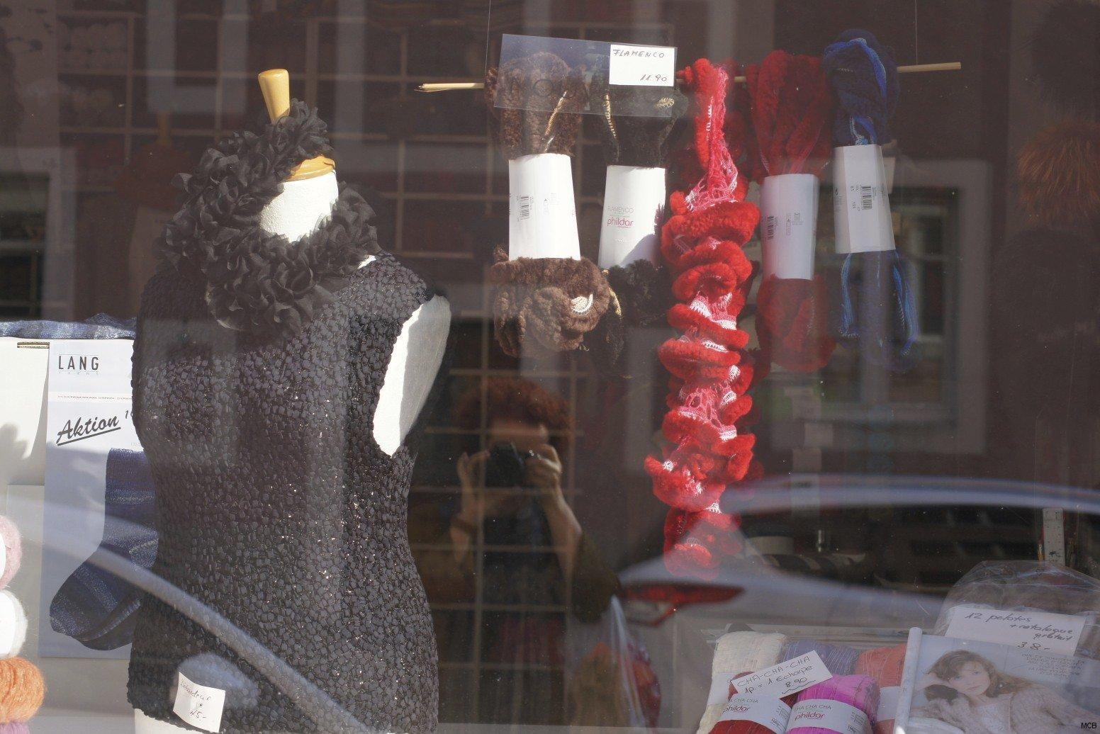 Fil de laine dans vitrine